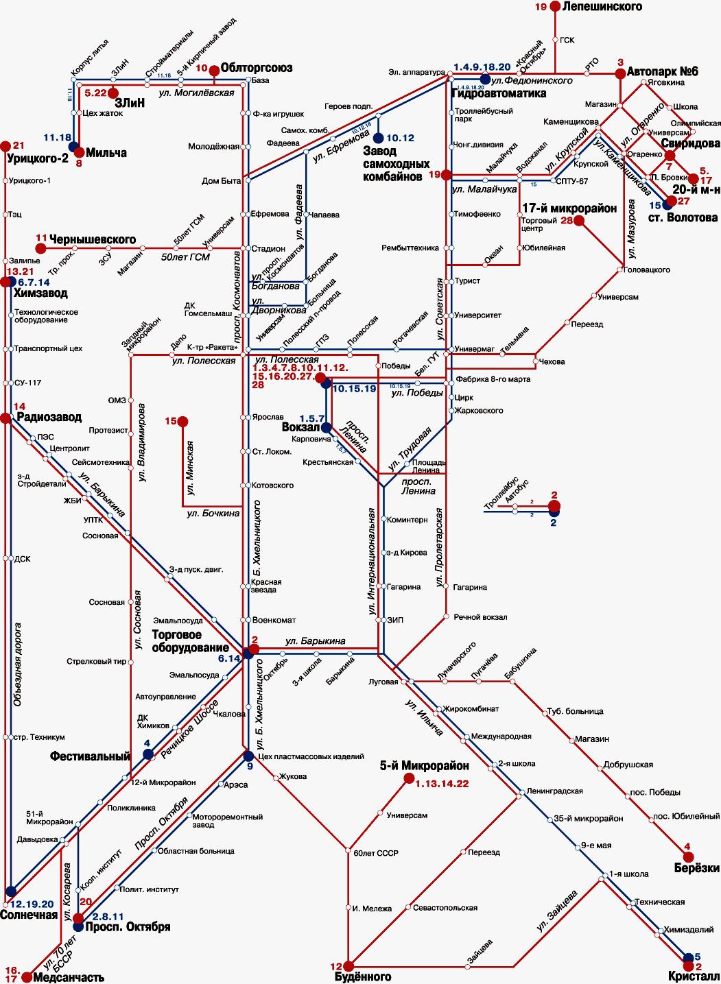 Схема городского транспорта в жлобине